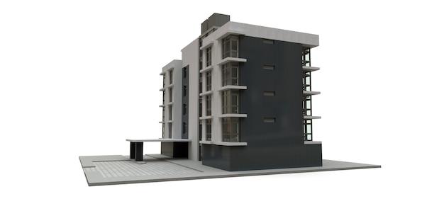 Małe biało-szare mieszkanie z windą i garażem. renderowania 3d.