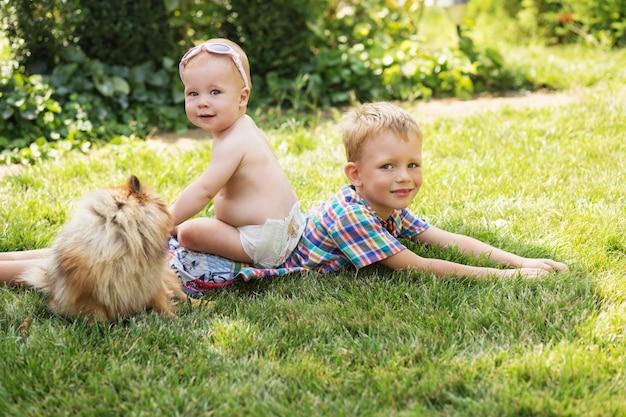 Małe dzieci bawiące się z psem na zielonej trawie
