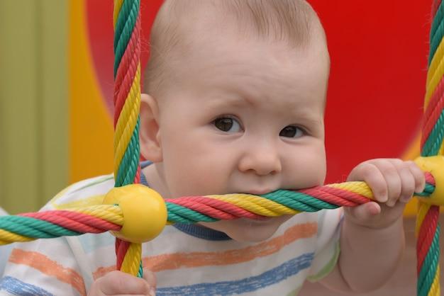 Małe dziecko gryzie i gryzie linę
