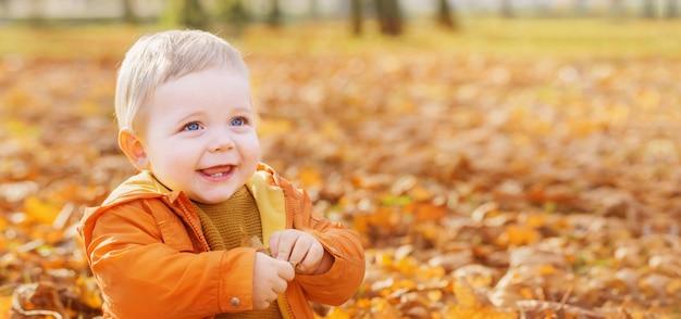 Małe dziecko w pogodnym jesień parku