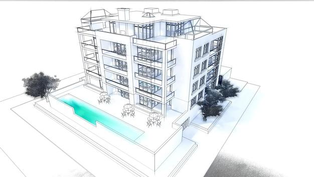Małe funkcjonalne kondominium z własnym zamkniętym garażem i ilustracją 3d basenu