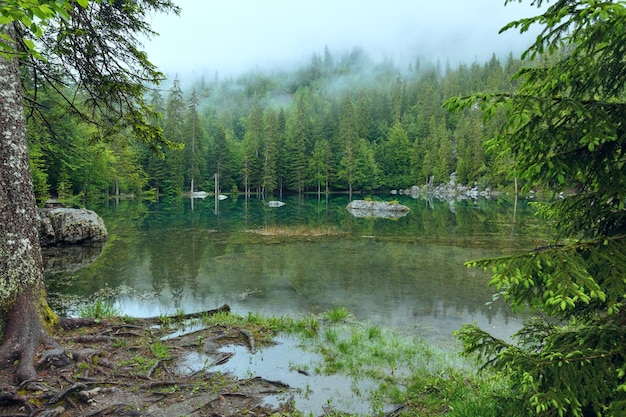 Małe górskie jezioro we francji w alpach (mglisty letni poranek).