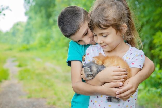 Małe kocięta w rękach dzieci