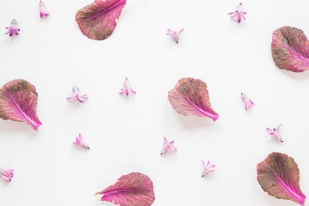 Małe kwiaty z liśćmi na stole