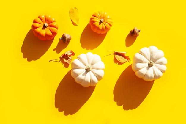 Małe ozdobne dynie i jesienne liście na żółtym tle. kontrastujący trend cieni