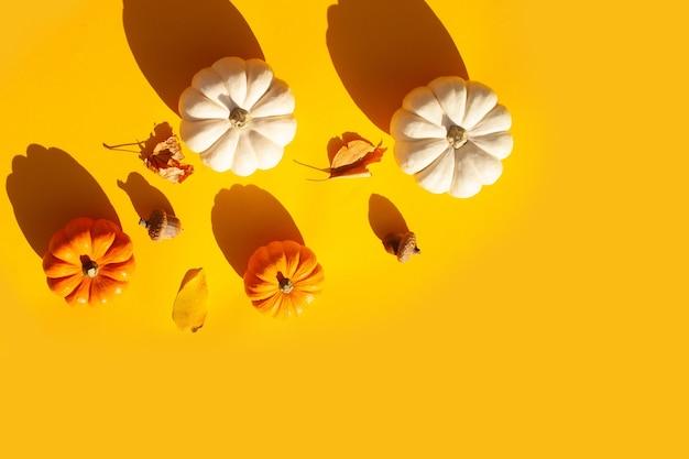 Małe ozdobne dynie i jesienne liście na żółtym tle. płaski styl świecenia