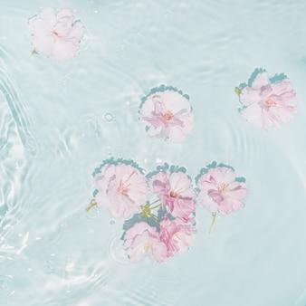 Małe różowe i białe kwiaty w mętnej niebieskiej falistej wodzie piękne mieszkanie leżało w minimalnej scenie