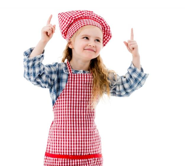 Małe szef kuchni dziewczyny emocje isolted na białym tle