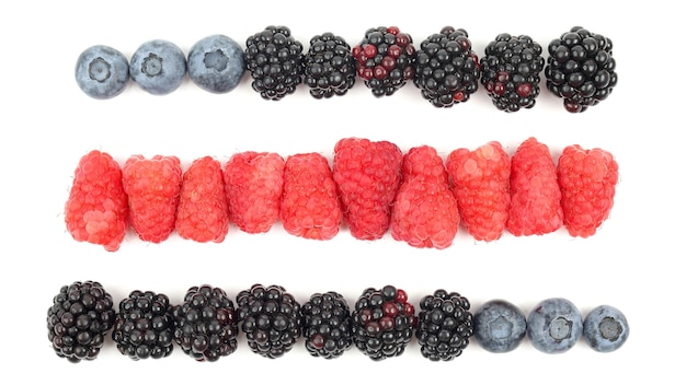 Maliny, jeżyny i jagody, rozmieszczone w rzędach na białym tle. zdrowe świeże warzywa i żywność