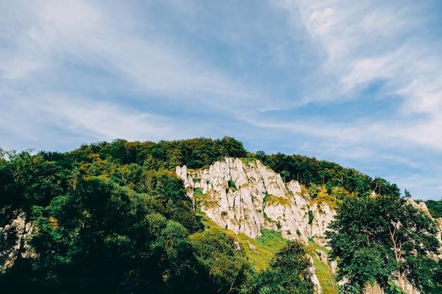 Małopolski ojcowski park narodowy pod krakowem, skała i piękne niebo