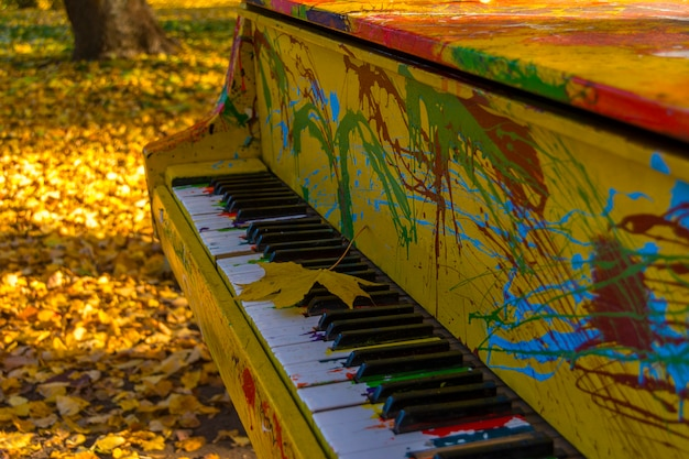 Malowane kolory fortepianu w jesiennym parku. liść klonowy leży na klawiszach.