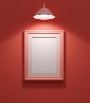 Malowanie na ścianie w kolorze koralowym, oświetlone lampą, renderowanie 3d
