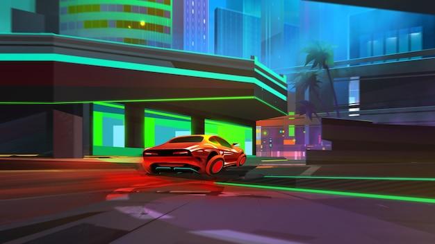 Malowany jasny nocny krajobraz. cyberpunkowe miasto z samochodem przyszłości.