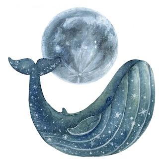 Malowany na niebiesko wieloryb z gwiazdami i księżycem.