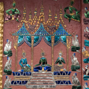 Malowidło ścienne na ścianie świątyni buddyjskiej, wat xieng thong, luang prabang, laos