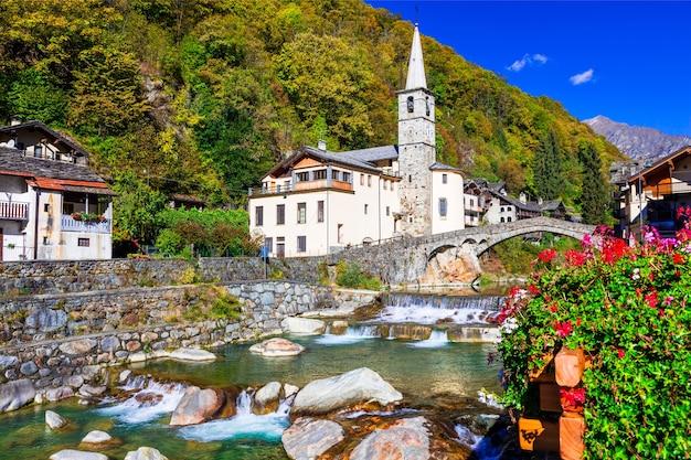 Malownicza alpejska wioska lillianes w valle d'aosta