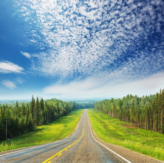 Malownicza autostrada na alasce w usa. dramatyczne chmury widok