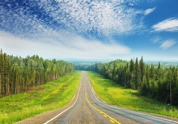 Malownicza autostrada na alasce w usa. dramatyczny widok na chmury