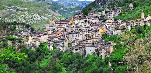 Malownicza górska wioska saorge, alpes maritimes, francja