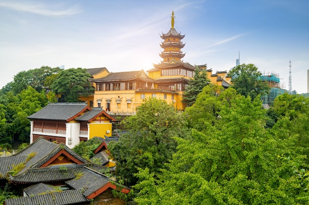 Malownicze górskie miejsce jiming, nanjing, jiangsu, chiny