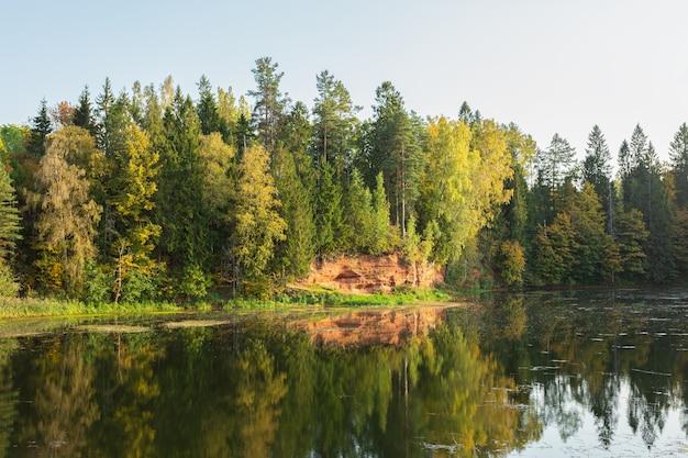 Malownicze jezioro i kamieniołom piasku w lesie jesienią w rozhdestveno, sankt petersburg, rosja. obraz poziomy.