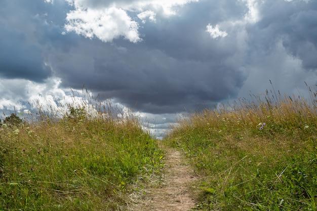 Malownicze trawiaste pole z drogą i ciemnymi deszczowymi chmurami tuż przed deszczem.