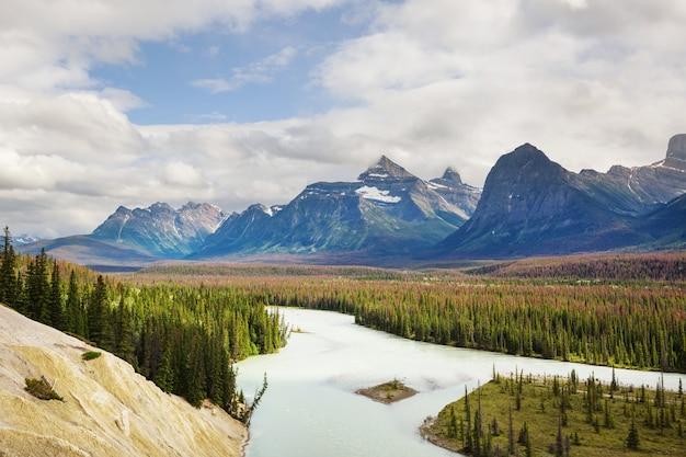 Malownicze widoki na rzekę athabasca, park narodowy jasper, alberta, kanada