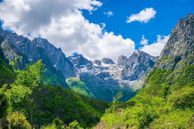 Malownicze zaśnieżone szczyty wysokich gór