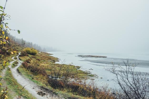 Malowniczy jesienny krajobraz z pstrokatymi roślinami i chodnik wzdłuż górskiego jeziora w gęstej mgle. nastrojowa sceneria ze ścieżką przez wzgórze z bujną jesienną florą w pobliżu wody w gęstej mgle w deszczową pogodę.