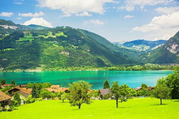 Malowniczy krajobraz. jezioro genewskie. naturalna tapeta. krajobraz górskiej szwajcarii. żywe tło wiosna. podróżuj po europie. lato natura tło. spokojny widok