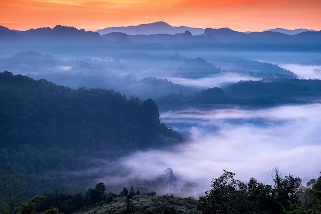 Malowniczy krajobraz w mglistej dolinie o świcie, baan jabo, mae hong son, tajlandia