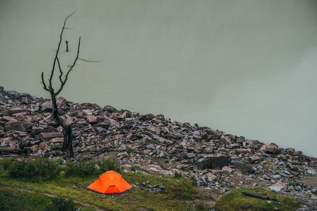 Malowniczy krajobraz z jednym żywym pomarańczowym namiotem i pięknym martwym drzewem w pobliżu górskiej wody jeziora. atmosferyczna sceneria z samym jasnym pomarańczowym namiotem i suchym drzewem w pobliżu krawędzi tafli wody górskiego jeziora.