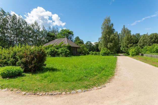 Malowniczy letni krajobraz z wiejską drogą i drewnianym domem na zielonym zadbanym trawniku.