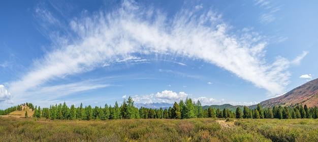 Malowniczy szeroki panoramiczny słoneczny jesienny krajobraz z wysokim zielonym płaskowyżem iglastym oświetlonym słońcem z górską ścianą pod pierzastymi chmurami.