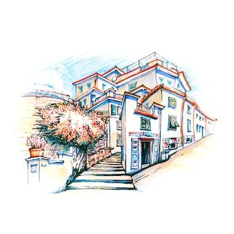 Malowniczy widok na kolorowe domy w wiosce rybackiej manarola w five lands, park narodowy cinque terre, liguria, włochy. markery wykonane z obrazka