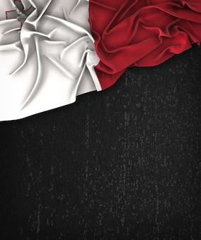 Malta flag vintage na chalkboard grunge czarna z miejsca na tekst
