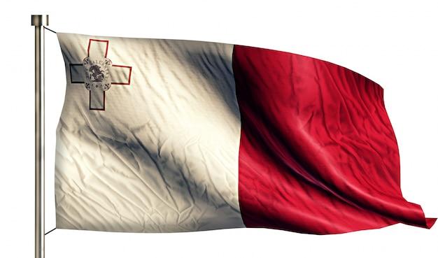 Malta flaga narodowa pojedyncze 3d białe tło