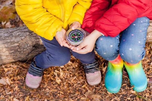 Maluch dziewczyny trzymając kompas w rękach. dzieci odkrywają przyrodę w lesie