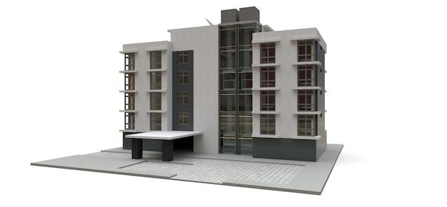Mały biało-szary kondominium z windą i garażem