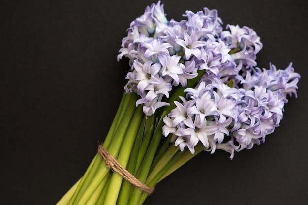 Mały bukiet niebieskich wiosennych kwiatów hiacyntów