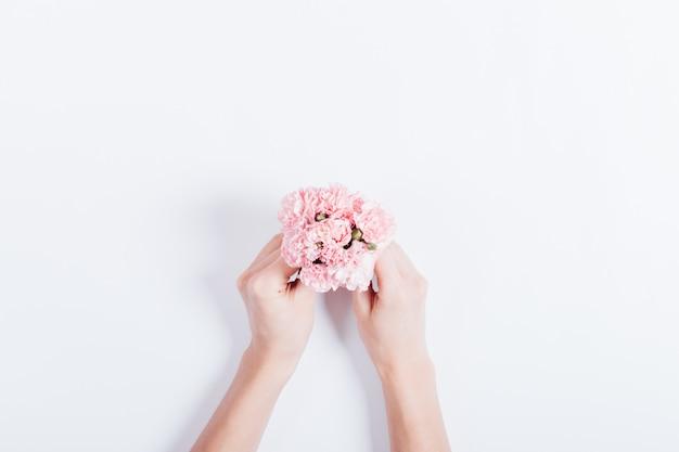 Mały bukiet różowych goździków w rękach kobiet