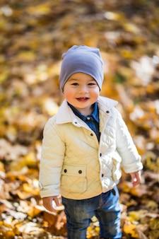 Mały chłopiec bawiący się w jesiennym parku, wokół niego żółte liście