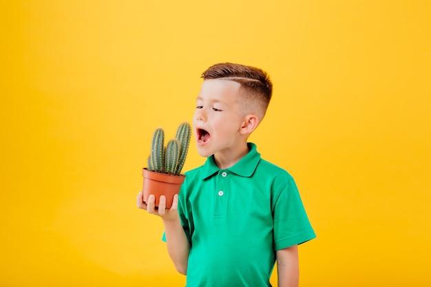 Mały chłopiec je kaktusa na białym tle na żółtym tle kopia przestrzeń w studio