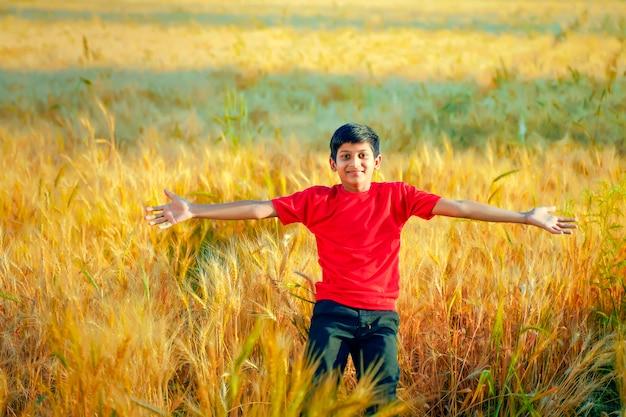 Mały chłopiec rozpostarł ramiona na złotym polu pszenicy