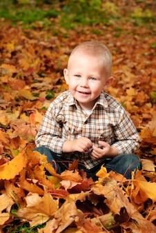 Mały chłopiec siedzi w jesiennych liściach klonu i uśmiech. portret na zewnątrz