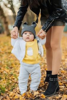 Mały chłopiec uczy się stawiać pierwsze kroki, trzymając ręce mamy jesienią