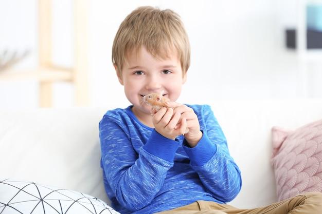 Mały chłopiec z ładny chomik na kanapie w pomieszczeniu
