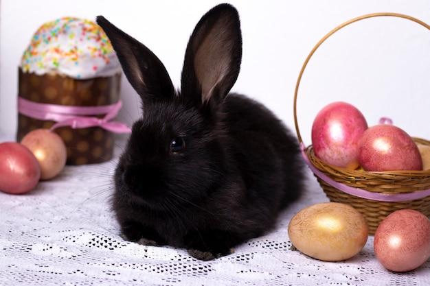 Mały czarny królik w wielkanocnym składzie z jajkami i wielkanocnymi ciastami