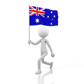 Mały człowiek chodzący z flagą australii w dłoni. obraz renderowania 3d