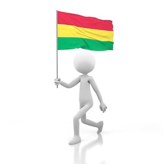 Mały człowiek chodzący z flagą boliwii w dłoni. obraz renderowania 3d